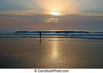 bello, tramonto, spiaggia