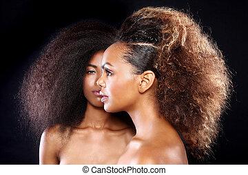 bello, tramortire, grande, due, capelli, americano, nero, ...
