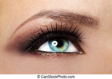 bello, trucco, occhio, femmina