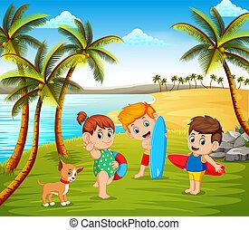 bello, un po', soleggiato, insieme, gioco, animali domestici, spiaggia, bambini, giorno