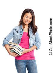 bello, università, asiatico, studente