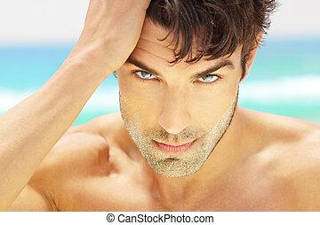bello, uomo, closeup