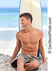 bello, uomo, con, suo, surfboard