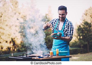 bello, uomo, preparare, barbecue