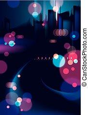 bello, urbano, costruzioni, strada, colorito, città, grande, astratto, effetto, luci, sfocato, nightlife., fondo., silhouette, vettore, cityscape, fondo, offuscamento, scuro, skyline.