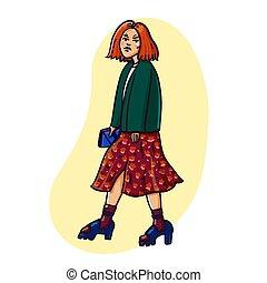 bello, urbano, strada, fashion., clothes., mano, outfit., vettore, illustrazione, trendy, disegnato, ragazza, casuale