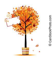 bello, vaso, albero, autunno, disegno, tuo