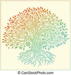 bello, vendemmia, mano, disegnato, albero vita