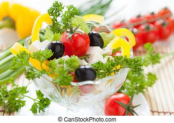 bello, verdura, insalata, con, feta