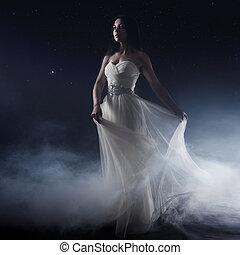 bello, vestire, woman., ragazza, cielo stellato, giovane, lungo, fondo, sexy, misterioso, ritratto, bianco, mistico, stile