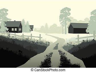 bello, vettore, illustrazione, villaggio