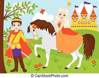 bello, vettore, principe, principessa
