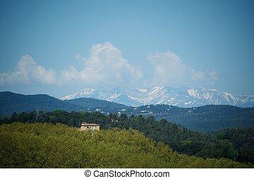 bello, vista, a, il, montagne