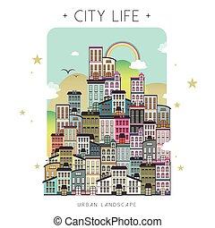 bello, vita città, scenario