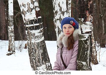 bello, winter-day, ragazza, parco