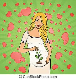 bello, woman., incinta