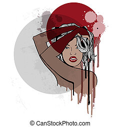bello, woman., moda, illustration.