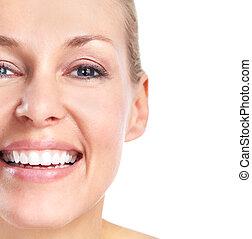 bello, woman., sorriso, e, teeth.