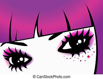 bello, womanish, occhi