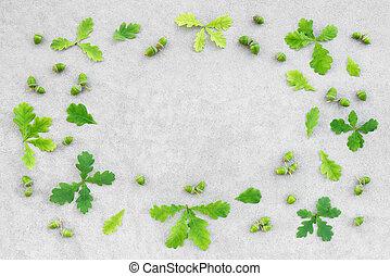 bellotas, hojas, roble, concreto, fondo verde, marco
