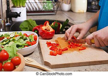 bellpepper, sałata, okazały, zachwycający, siła robocza, roślina, czerwony, koźlę