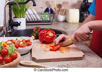 bellpepper, sałata, warzywa, dziecko, okazały, siła robocza, świeży, czerwony