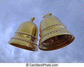 Bells - 01.jpg - 3d rendering of the gold bells in the sky