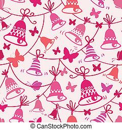 Bells and butterflies seamless pattern background