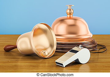 Bells and whistles concept on the wooden table. 3D rendering