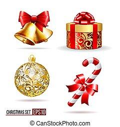 Bells, gift box, candycane and christmas ball - Christmas ...