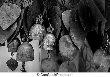Bells hanging under Big Buddha in Phuket, Thailand