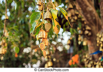 Bells outside the buddhist temple in Thailand