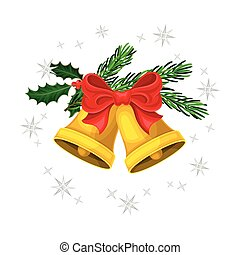 Bells with Bow and Fir Branch as Christmas Vector Composition