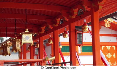 Bells with ropes in Japanese temple - Bells with ropes hang...