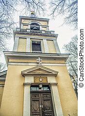 belltower, の, 神聖な三つ組教会堂, helsinki.