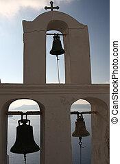 Belltower in Santorini - Belltower with cross on Greek...