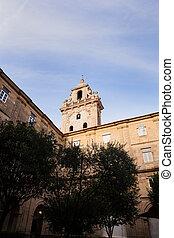 Belltower of Santiago church - SANTIAGO, SPAIN - AUGUST, 17:...