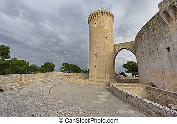 Bellver Castle in Majorca with tower, wide angle