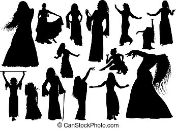 Belly dance arabic isolated black silhouettes set
