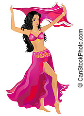 Belly dancer - Beautiful young belly dancer isolated on...