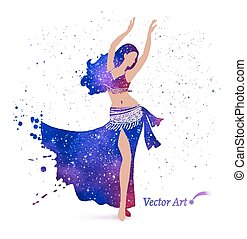 Belly dancer. - Belly dancer with space pattern on dress. ...