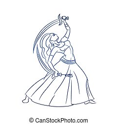 Belly Dancer figure gesture sketch line drawing. - Gesture...