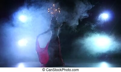 Belly dancer girl go on dancing with candles, head, black, smoke, slow motion, silhouette