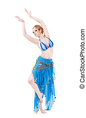 belly dancer girl in blue isolated on white
