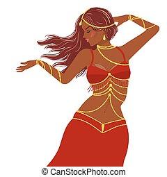 Belly dancer girl in red dress
