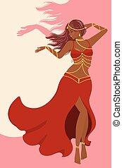 Belly dancer girl in red dress design