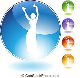 Belly Dancer People Crystal Icon