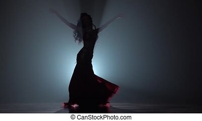 Belly dancer shaking her hips in chiffon dress. Smoke...