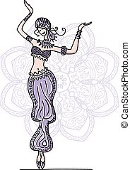 Belly dancer, sketch for your design. Vector illustration