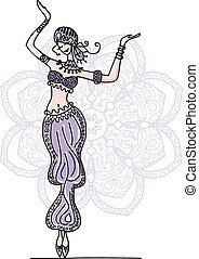 Belly dancer, sketch for your design. Vector illustration